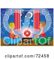 Little Boy And Girl Sitting On Pillows Around A Crystal Ball