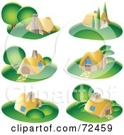 Digital Collage Of Small Cottages With Green Lawns