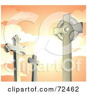 Royalty Free RF Clipart Illustration Of Cross Tombstones In A Cemetery Against An Orange Sunset