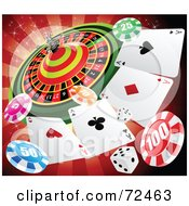 Royalty Free RF Clipart Illustration Of A Casino Roulette Wheel With Playing Cards Poker Chips And Dice Over Red