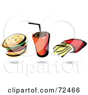 Royalty Free RF Clipart Illustration Of A Digital Collage Of A Hamburger With A Fountain Soda And French Fries by cidepix
