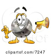 Clipart Picture Of A Bowling Ball Mascot Cartoon Character Holding A Megaphone