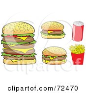 Royalty Free RF Clipart Illustration Of A Digital Collage Of Cheeseburgers Soda And French Fries by cidepix
