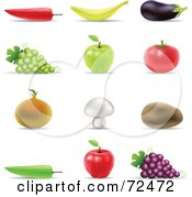 Digital Collage Of 3d Fruits And Veggies