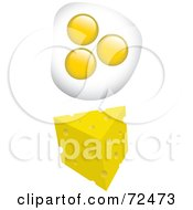 Royalty Free RF Clipart Illustration Of A Digital Collage Of Fried Eggs With A Wedge Of Cheese