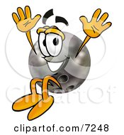 Clipart Picture Of A Bowling Ball Mascot Cartoon Character Jumping