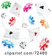 Royalty Free RF Clipart Illustration Of A Background Of Falling Ace Playing Cards Poker Chips And Dice