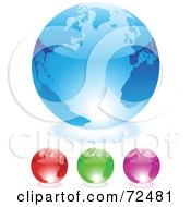 Royalty Free RF Clipart Illustration Of A Digital Collage Of Colorful Shiny 3d Glass Globes by cidepix
