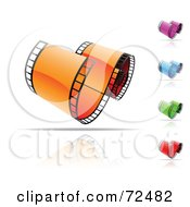 Digital Collage Of Colorful Curved Film Strips With Reflections