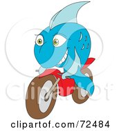 Royalty Free RF Clipart Illustration Of A Blue Fish Riding A Motorcycle