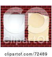 Royalty Free RF Clipart Illustration Of Two Blank Signs Hanging On A Brick Wall by cidepix