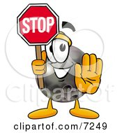 Clipart Picture Of A Bowling Ball Mascot Cartoon Character Holding A Stop Sign