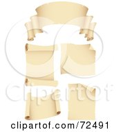 Royalty Free RF Clipart Illustration Of A Digital Collage Of Blank Beige Scroll Banners And Signs by cidepix