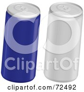 Royalty Free RF Clipart Illustration Of A Digital Collage Of Blue And Silver Soda Cans by cidepix