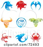 Royalty Free RF Clipart Illustration Of A Digital Collage Of Colorful 3d Animal Logo Icons