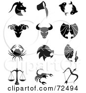 Royalty Free RF Clipart Illustration Of A Digital Collage Of Black And White Horoscope Icons