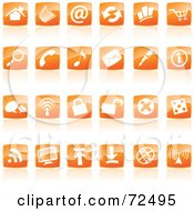 Royalty Free RF Clipart Illustration Of A Digital Collage Of Shiny Orange Square Website Icons by cidepix