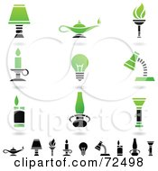 Royalty Free RF Clipart Illustration Of A Digital Collage Of Green And Black Light Icons by cidepix