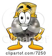 Clipart Picture Of A Bowling Ball Mascot Cartoon Character Wearing A Helmet