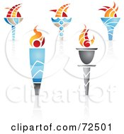 Royalty Free RF Clipart Illustration Of A Digital Collage Of Olympic Torches by cidepix