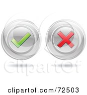Royalty Free RF Clipart Illustration Of A Digital Collage Of Chrome Round Website Buttons With Check And X Marks