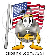 Clipart Picture Of A Bowling Ball Mascot Cartoon Character Pledging Allegiance To An American Flag