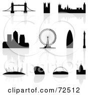 Royalty Free RF Clipart Illustration Of A Digital Collage Of Silhouetted London Landmarks With Reflections by cidepix