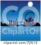 Royalty Free RF Clipart Illustration Of A Plane Over The London Skyline At Night by cidepix