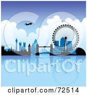 Royalty Free RF Clipart Illustration Of A Plane Over The London Skyline On A Blue Day