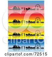 Digital Collage Of Colorful Four Seasons London Skyline Banners