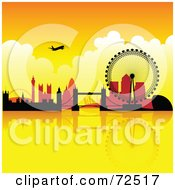 Royalty Free RF Clipart Illustration Of A Plane Over The London Skyline Against An Orange Sunset by cidepix