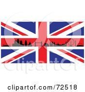 Royalty Free RF Clipart Illustration Of The Silhouetted London Skyline On A British Flag