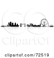 Royalty Free RF Clipart Illustration Of The Silhouetted London Skyline With A Reflection