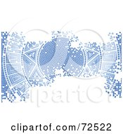 Royalty Free RF Clipart Illustration Of A Blue Aged Mosaic Tile Background Of The Sun With White Space