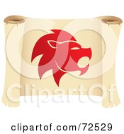Royalty Free RF Clipart Illustration Of A Red Leo Icon On A Parchment Scroll by cidepix