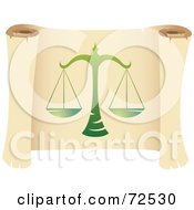 Royalty Free RF Clipart Illustration Of A Green Libra Icon On A Parchment Scroll