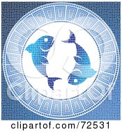 Royalty Free RF Clipart Illustration Of A Blue Pisces Fish Horoscope Mosaic Tile Background by cidepix