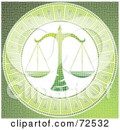 Royalty Free RF Clipart Illustration Of A Green Libra Scale Horoscope Mosaic Tile Background