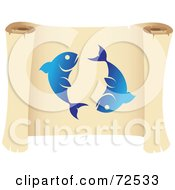 Royalty Free RF Clipart Illustration Of A Blue Pieces Icon On A Parchment Scroll