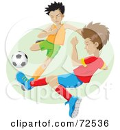 Royalty Free RF Clipart Illustration Of Two Little Boys On Opposing Teams Playing Soccer by cidepix