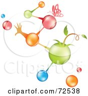 Royalty Free RF Clipart Illustration Of Colorful Life Molecules With Plants Hands And Butterflies by cidepix