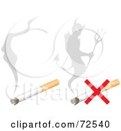 Royalty Free RF Clipart Illustration Of A Digital Collage Of Smoke And A Devils Shadow Over Cigarettes