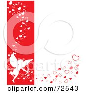 Red And White Background With Cupid And Flowing Hearts