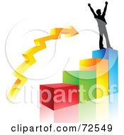 Royalty Free RF Clipart Illustration Of A Celebrating Silhouetted Man On Top Of A Colorful Bar Graph by cidepix