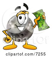 Clipart Picture Of A Bowling Ball Mascot Cartoon Character Holding A Dollar Bill by Toons4Biz
