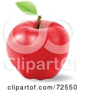 Realistic 3d Red Apple With A Single Leaf On The Stem