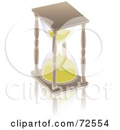 Royalty Free RF Clipart Illustration Of A Wooden Hourglass With Golden Sand by cidepix