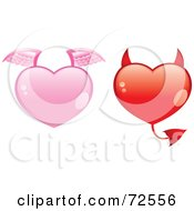 Royalty Free RF Clipart Illustration Of A Digital Collage Of Pink And Red Angel And Devil Hearts by cidepix