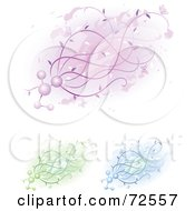 Royalty Free RF Clipart Illustration Of A Digital Collage Of Purple Green And Blue Molecule Floral Designs by cidepix