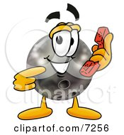 Clipart Picture Of A Bowling Ball Mascot Cartoon Character Holding A Telephone